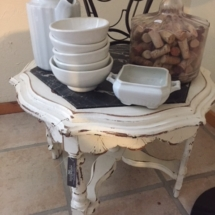 Shabby chic side table with marble top, antique stoneware