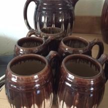 Vintage brown drip stoneware