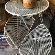 MCM patio table with 2 clamshell chairs