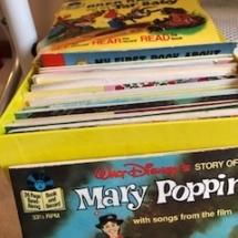 Vintage case full of children's books w/ records