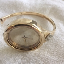 Custom designed James C Smith 14kt yellow gold and diamond cuff style wrist watch