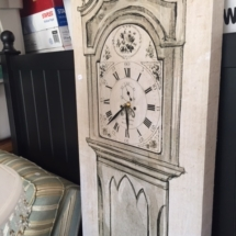 "Cute canvas ""grandfather clock"" and Ethan Allen headboard"
