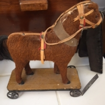 Antique horsehair horse pull toy (1880's)