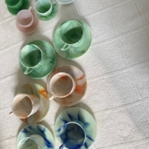 Agate cups and saucers