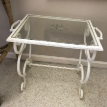 Antique painted iron table with glass top