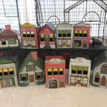 Tin Litho 1914 West Bros Candy Container Houses