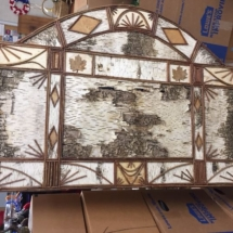Large birch bark and twig wall hanging by local artist, Bill Perkins