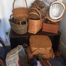 Many baskets, including Longaberger