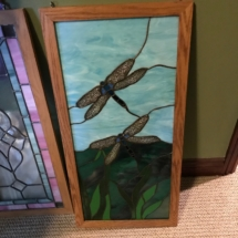 Hanging stained glass dragonfly panel