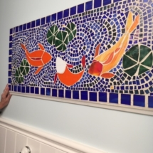 Beautiful handmade mosaic koi pond wall art