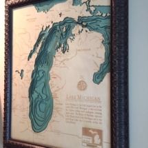 Nautical Great Lakes wood map
