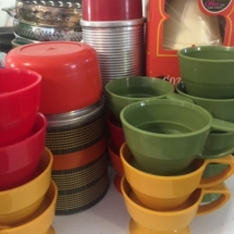"Vintage thermoses and ""Cozy Cup Holders"" and cups"