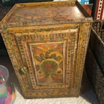 Unique, painted antique bread box
