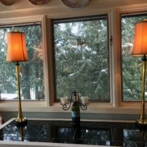 Pair of beautiful amber stretched glass lamps