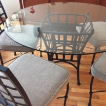 Wrought iron/glass dining table with 4 chairs
