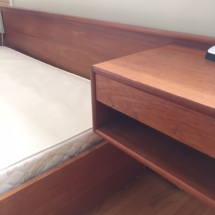 Danish modern teak queen bed with attached side tables