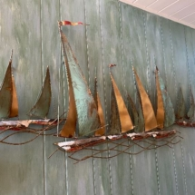 Curtis Jere - signed Mid Century sailboat sculpture